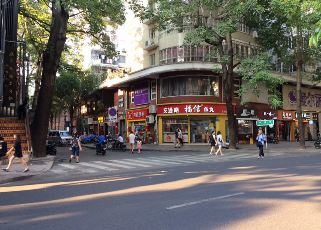 Many of the streets in this district of Fuzhou are lined with mature trees.