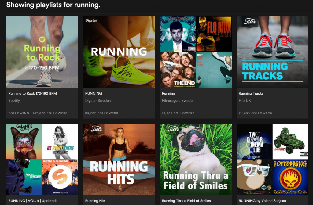 A simple search for running playlists results in a large variety. A seemingly endless scroll of options.